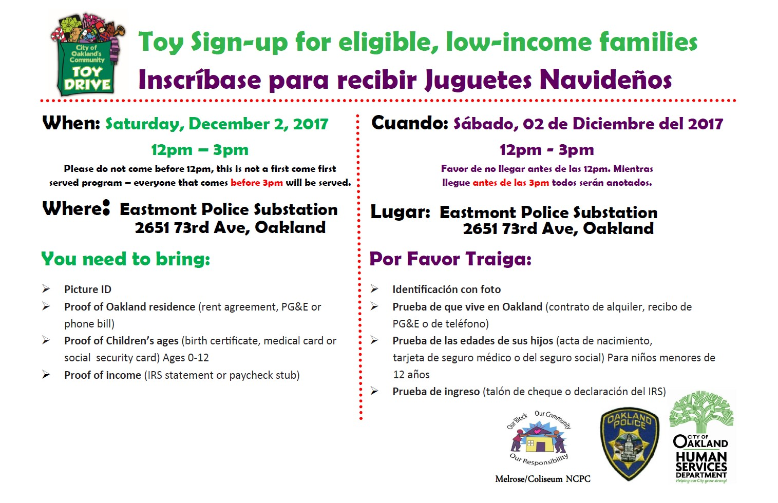 City Of Oakland Communitys Toy Drive Sign Up For Low Income